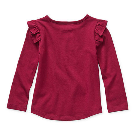 Okie Dokie Toddler Girls Round Neck Long Sleeve T-Shirt, 3t , Red