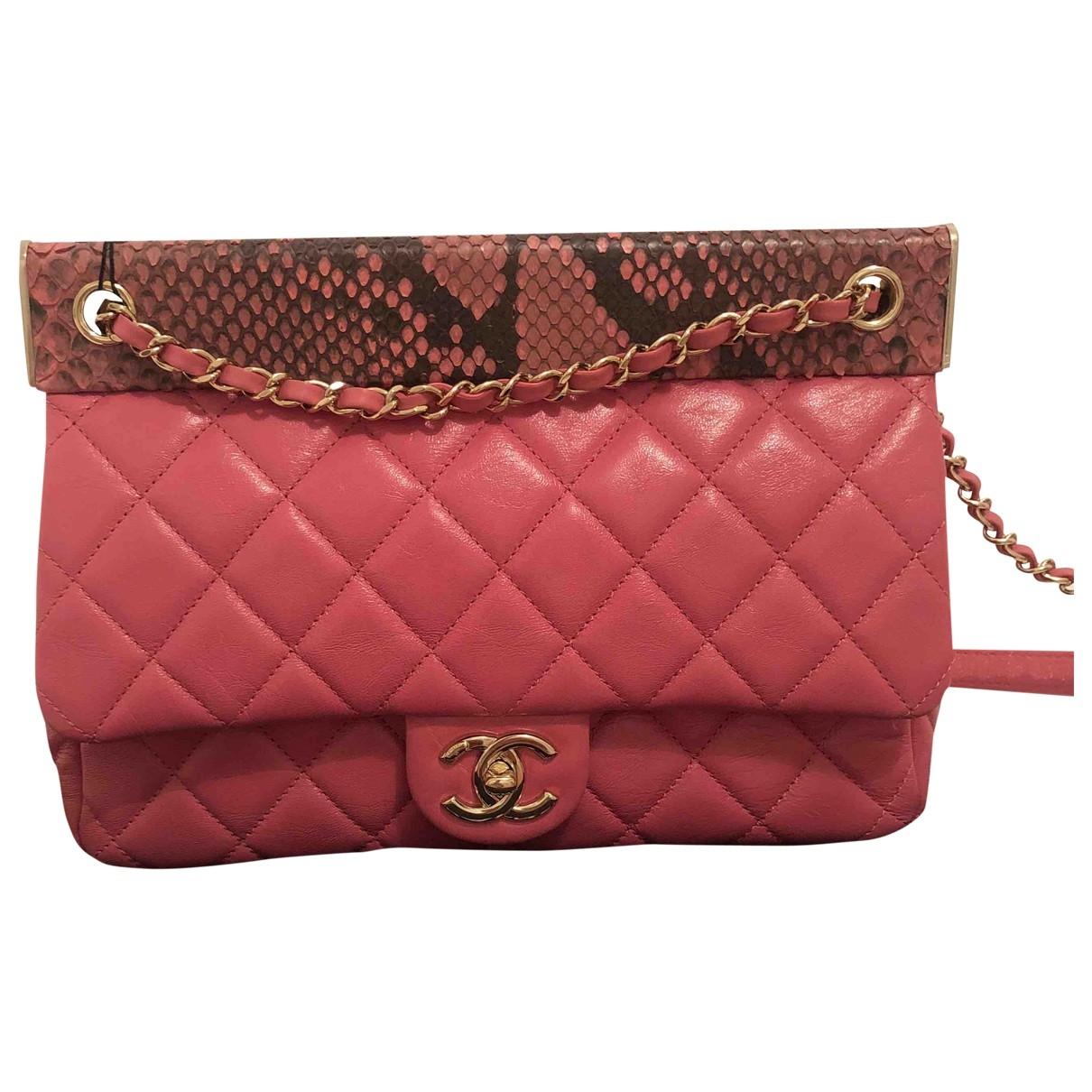 Chanel - Sac a main   pour femme en python - rose