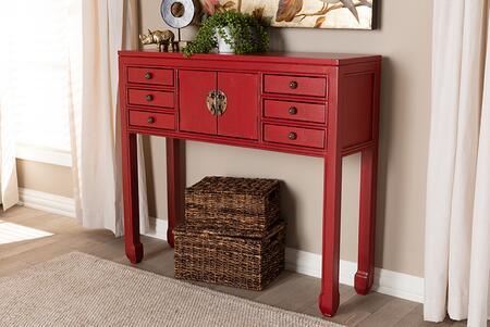 MIN22-RED-ST Baxton Studio Melodie Classic and Antique Red Finished Wood Bronze Finished Accents 6-Drawer Console
