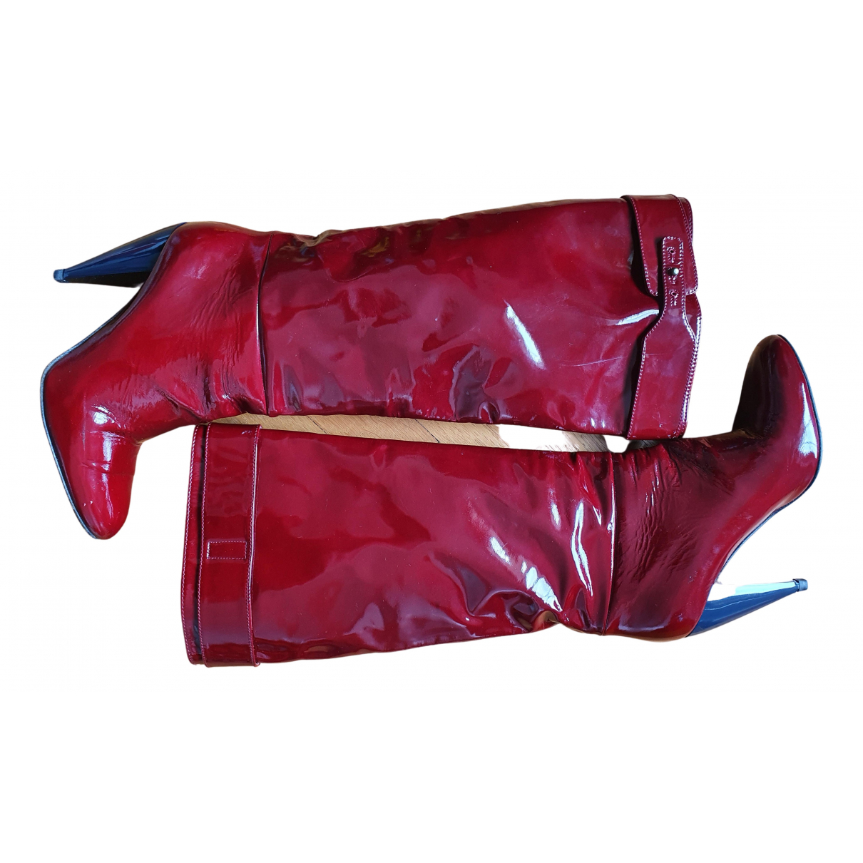 Lanvin - Bottes   pour femme en cuir verni - bordeaux