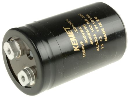 KEMET 1000μF Electrolytic Capacitor 400V dc, Screw Mount - ALS30A102KE400