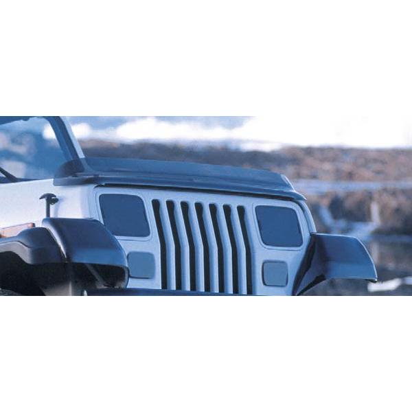 Rugged Ridge 11350.01 Hood Bug Deflector, Smoke; 87-06 Jeep Wrangler YJ/TJ Jeep Wrangler