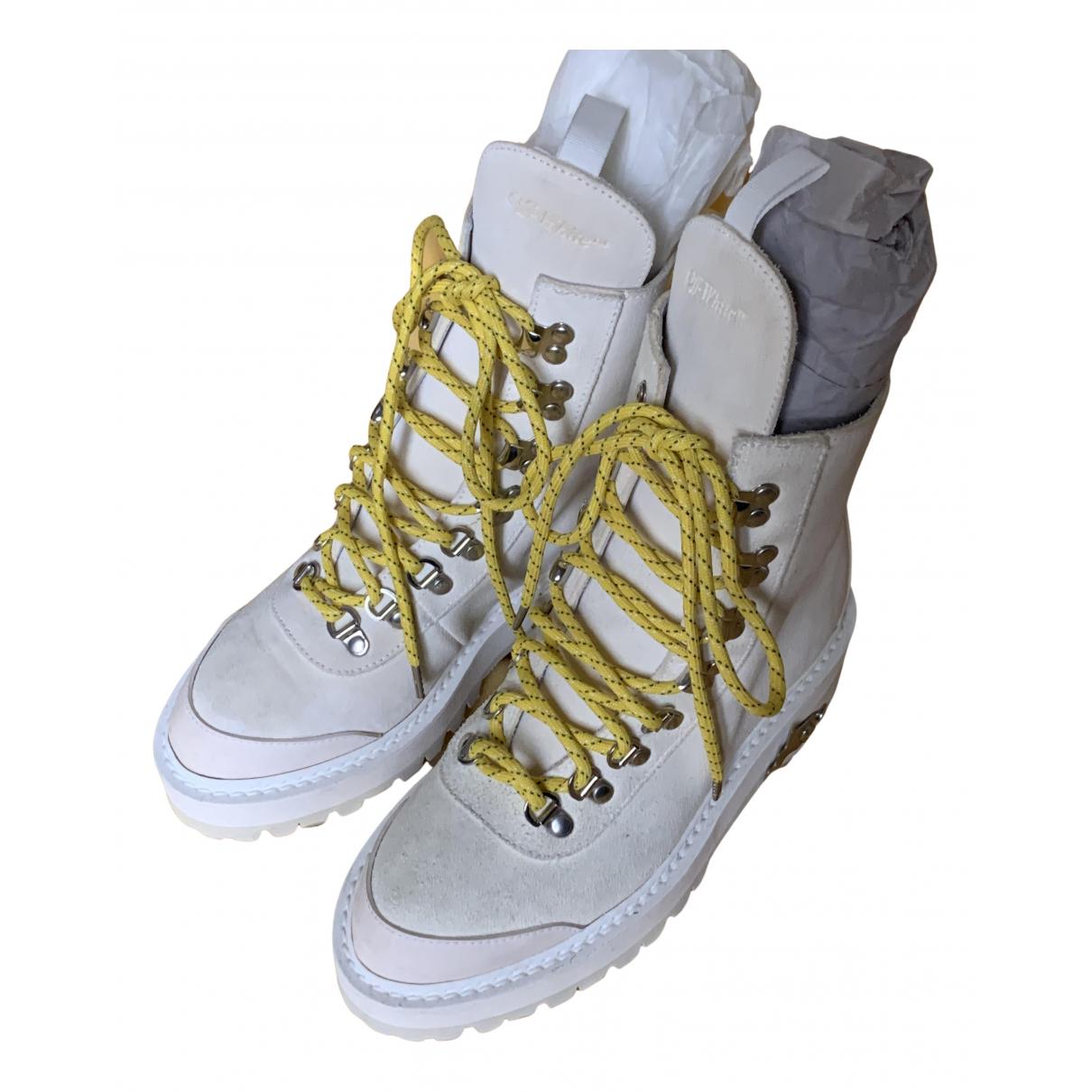 Off-white - Boots   pour femme en cuir - blanc