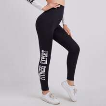 High Waist Letter Graphic Leggings