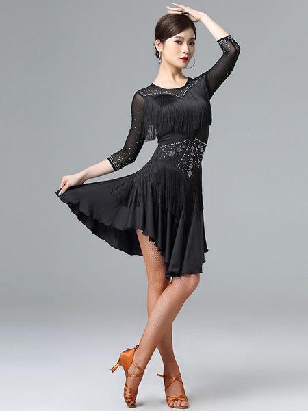 Milanoo Disfraz Halloween Traje de baile latino Vestido de volantes con flecos de diamantes de imitacion Traje de baile Halloween