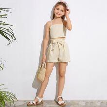 Cami Top mit Karo Muster, geraffter Rueckseite und Shorts mit Papiertasche Taille