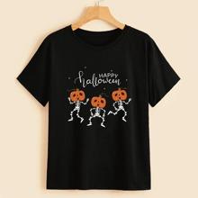Halloween Skeleton & Pumpkin Graphic Tee