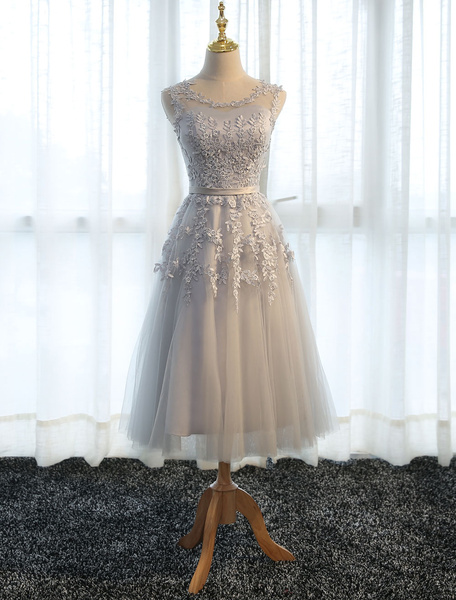 Milanoo Homecoming Dresses Cameo Pink Short Prom Dress Lace Applique Tulle Tea Length Party Dress