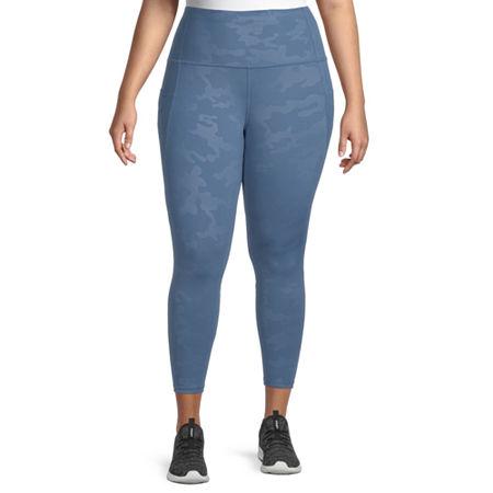 Xersion Womens High Rise 7/8 Ankle Leggings Plus, 1x , Blue