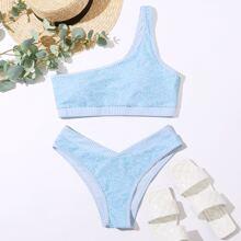 Scroll & Striped One Shoulder High Cut Bikini Swimsuit