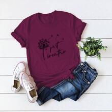 Dandelion And Slogan Graphic Tee