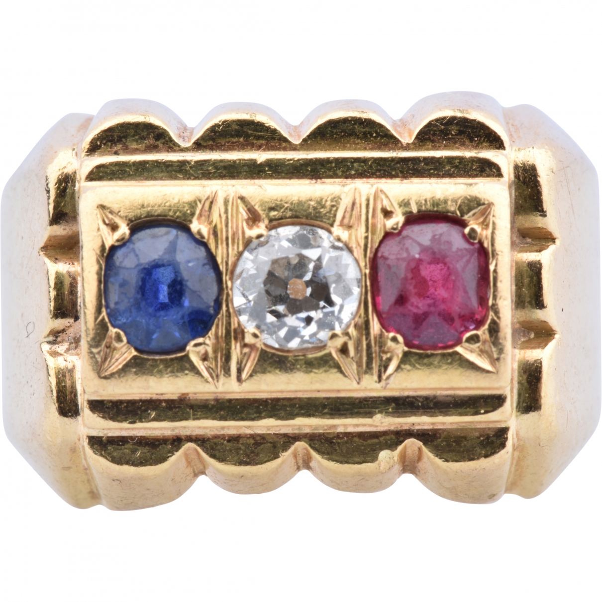 Non Signé / Unsigned Chevalières Multicolour Yellow gold ring for Women \N
