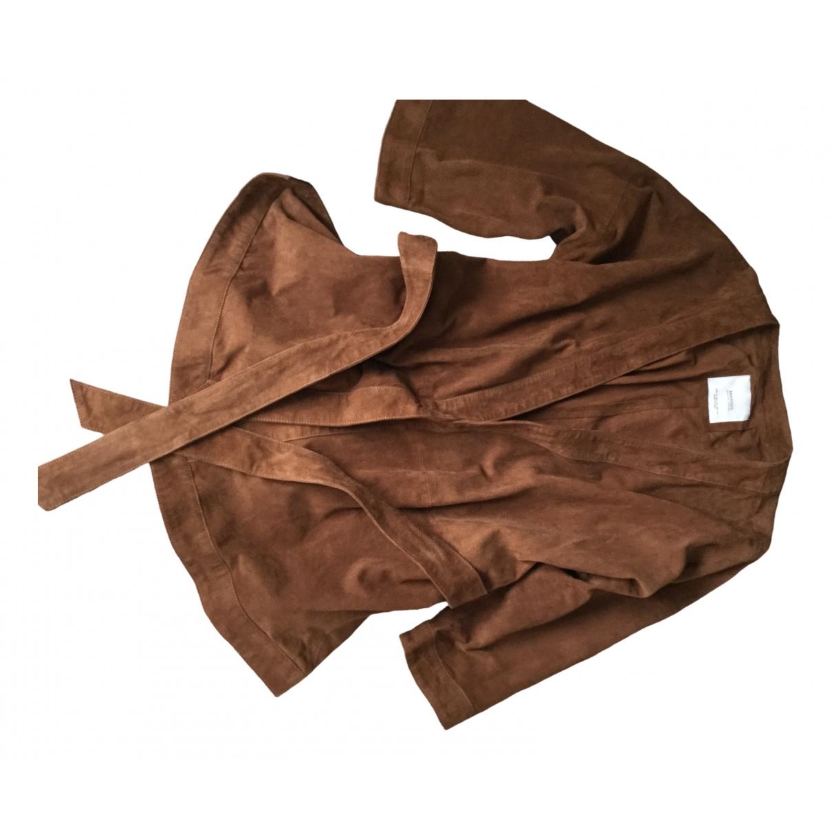 Mango - Veste   pour femme en cuir - marron
