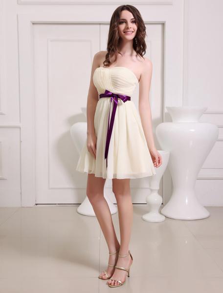 Milanoo Gold Champagne Sweetheart Chiffon A-line Bow Short Bridesmaid Dress