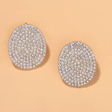 Rhinestone Geo Design Earrings
