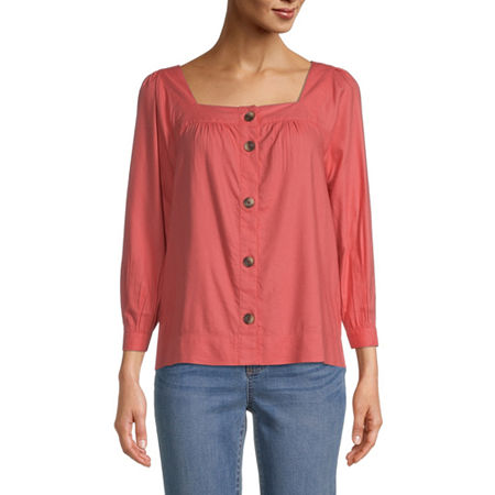 St. John's Bay Womens Square Neck Long Sleeve Blouse, Medium , Orange