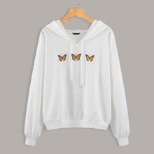 Drop Shoulder Butterfly Print Drawstring Hoodie
