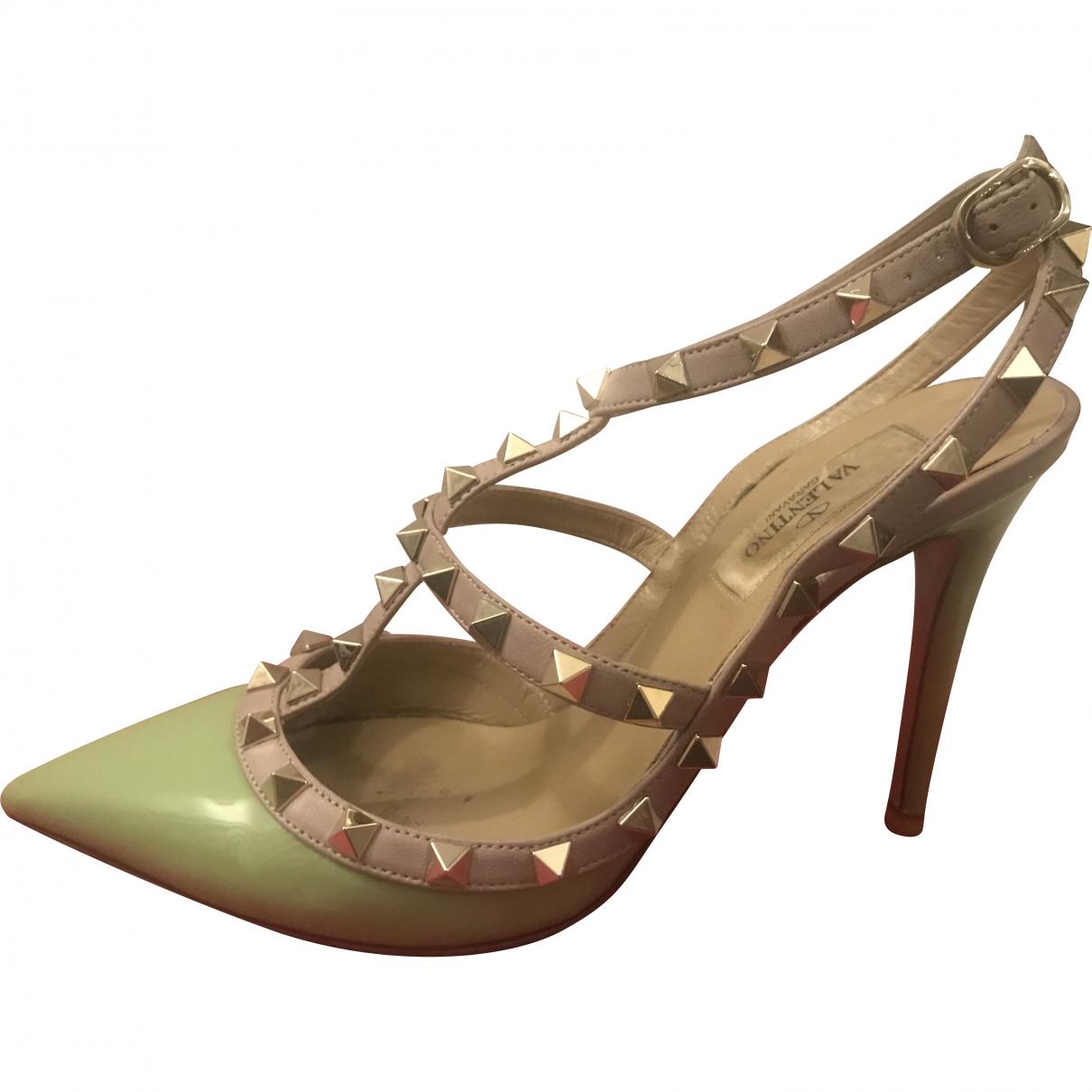 Valentino Garavani Rockstud Green Leather Heels for Women 37.5 EU