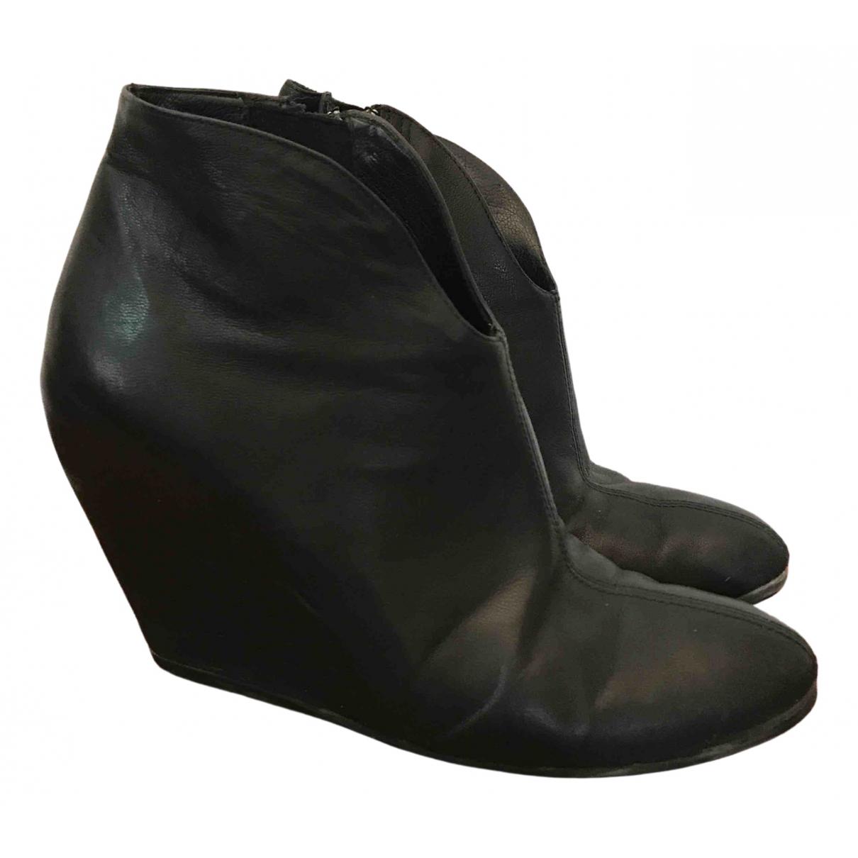 Vic Matie - Boots   pour femme en cuir - noir