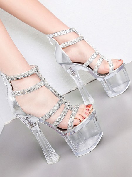 Milanoo High Heel Sexy Sandals Silver PU Leather Square Toe T-Strap Platform Sexy Sandals