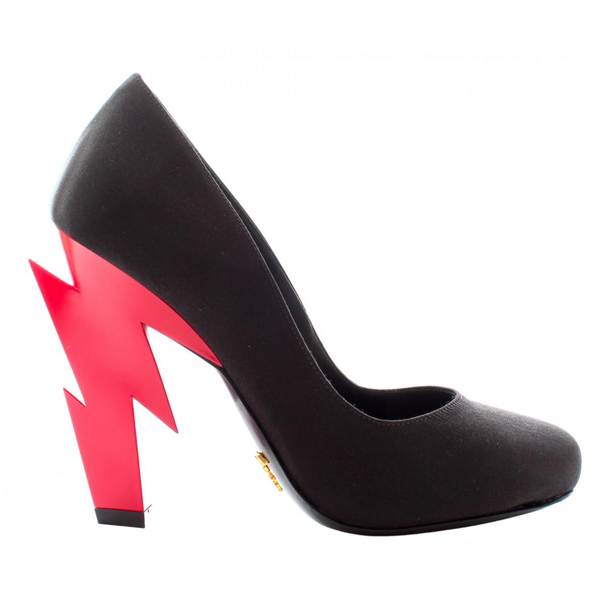 Prada Lightning Black Cloth Heels for Women 35 EU