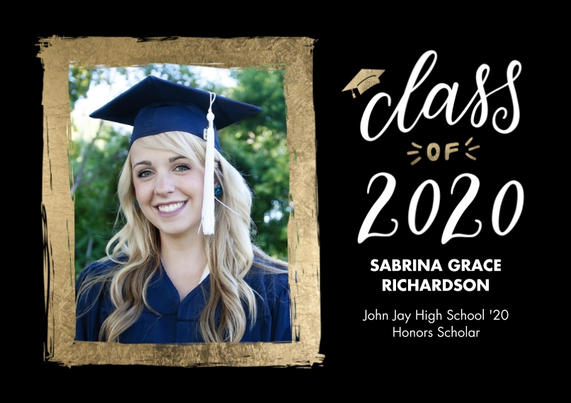 2020 Graduation Announcements Flat Matte Photo Paper Cards with Envelopes, 5x7, Card & Stationery -2020 Grad Painted Gold Border by Tumbalina