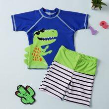 Badeanzug mit Krokodil Praegung und Streifen Muster