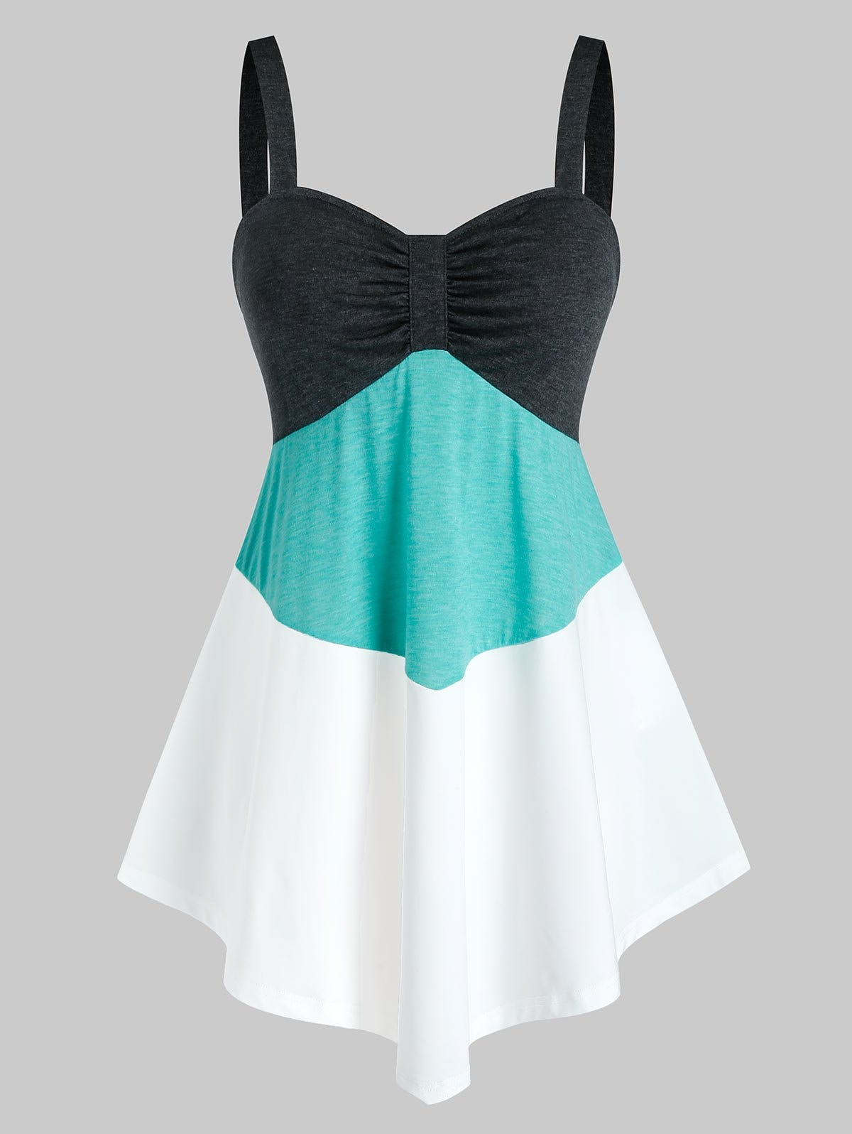 Plus Size Colorblock Ruched Tank Top