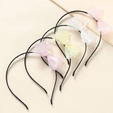 4 piezas aro de pelo de niñas con lazo con perla artificial