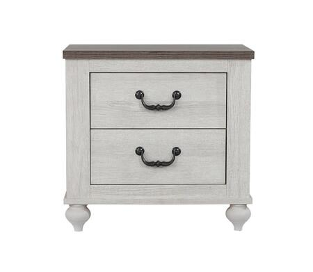Stillwood Collection 223282 25.5 Nightstand with Two Storage Drawers  Turned Style Legs and Transitional Style Design in White