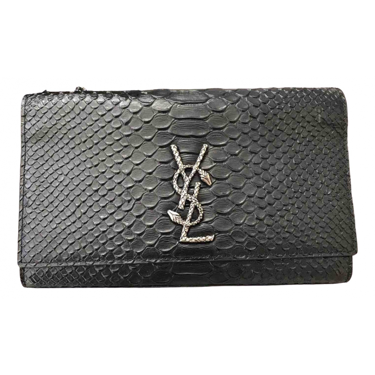 Saint Laurent Kate monogramme Clutch in  Schwarz Python