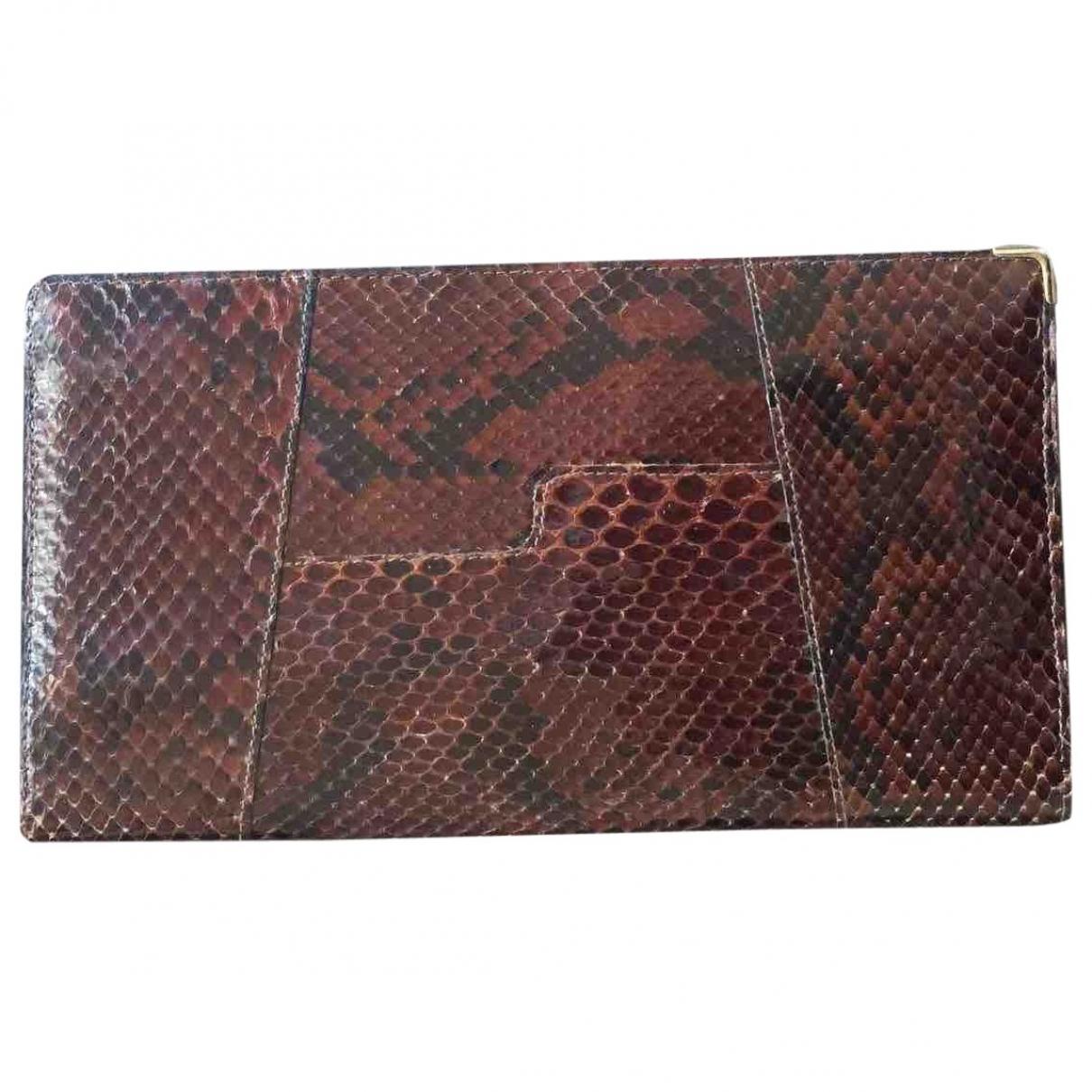 - Portefeuille   pour femme en python - marron