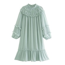 Swiss Dot Frill Trim Ruffle Hem Babydoll Dress