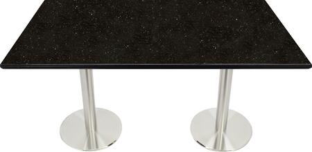 G206 30X42-SS14-23D 30x42 Black Galaxy Granite Tabletop with 23 Round #304 Grade Stainless Steel Dining Height Table