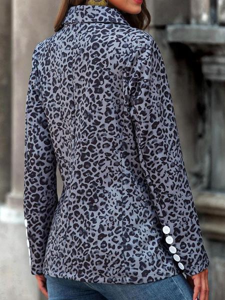 Milanoo Chaqueta de mujer Chaquetas Leopardo Cuello vuelto Manga larga Abrigo de primavera