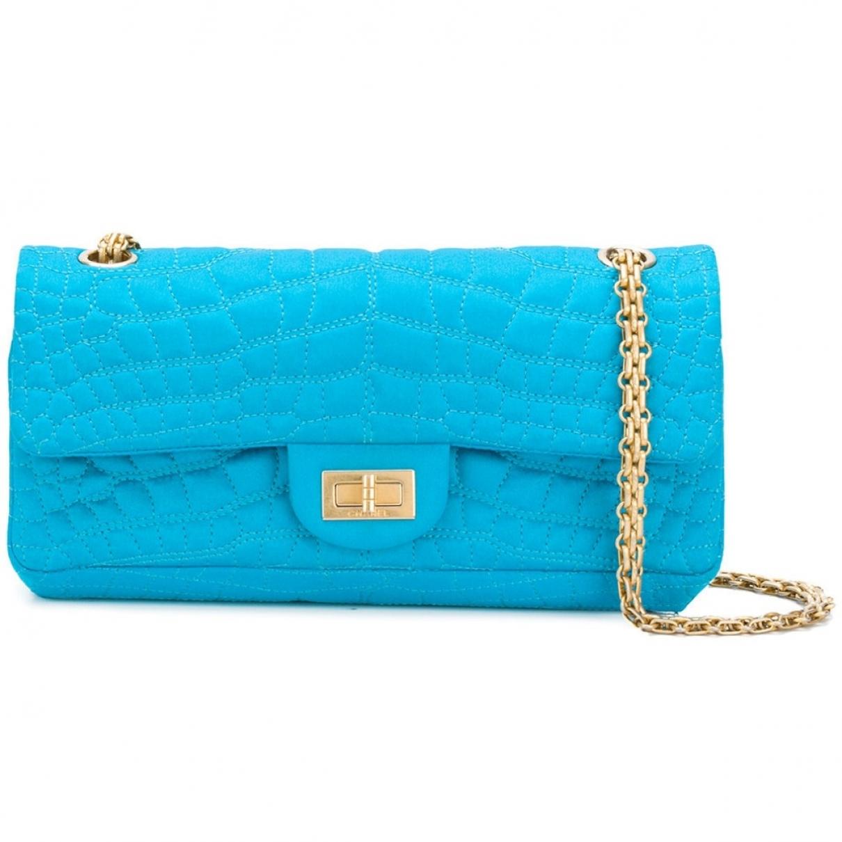 Chanel 2.55 Handtasche in  Tuerkis Leinen