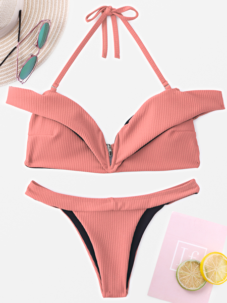 Yoins Pink Halter V-neck Tie-up Padded Design Bikini