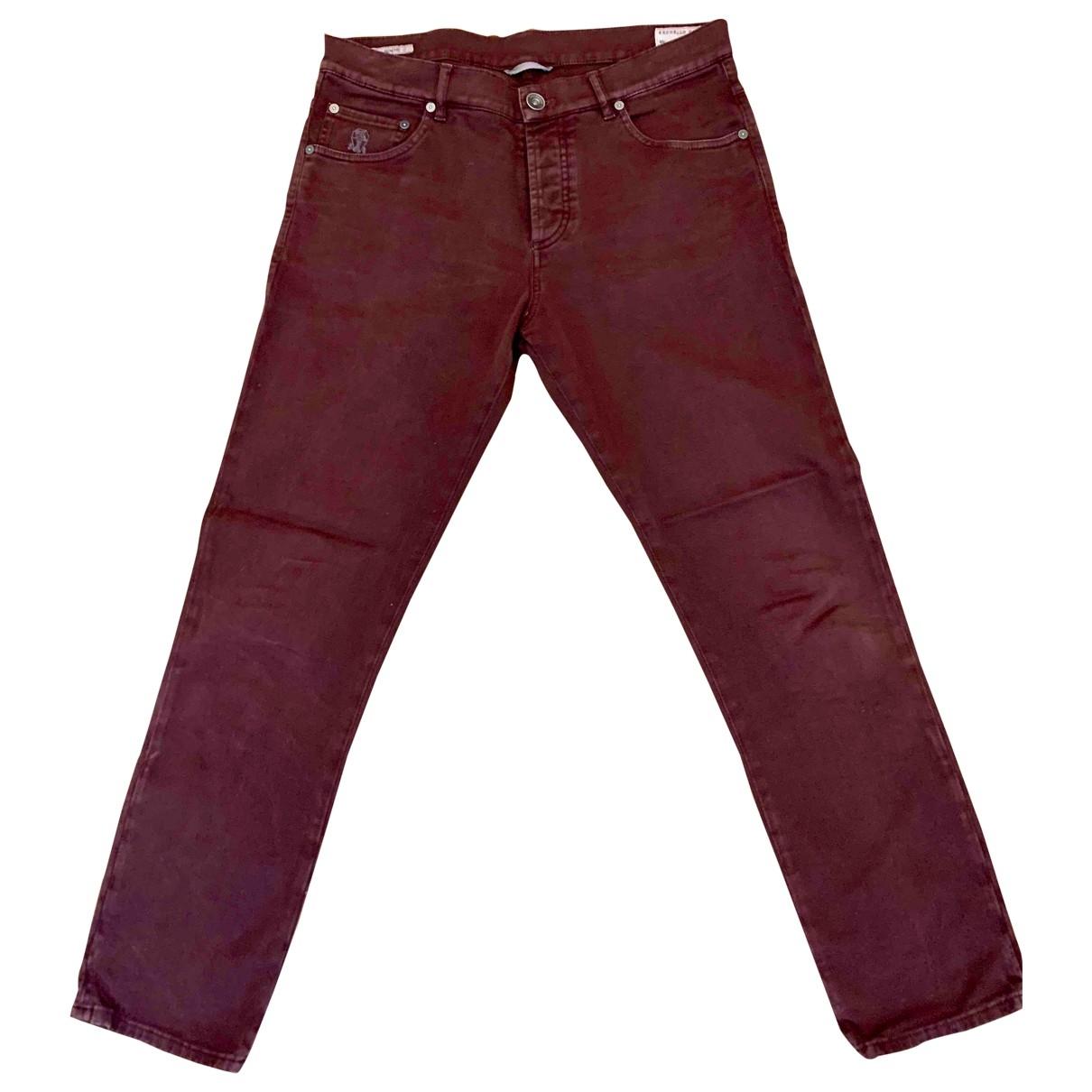 Brunello Cucinelli \N Burgundy Cotton Trousers for Men 48 IT