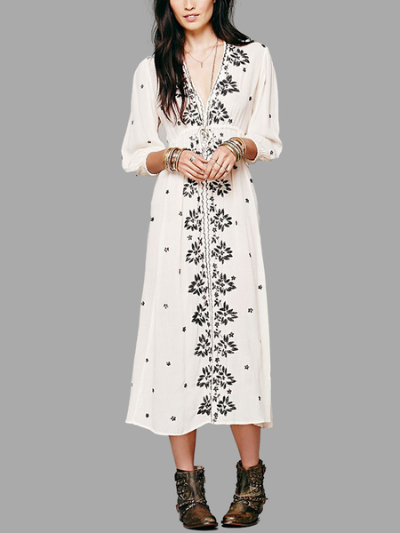 Yoins Floral Embroidered Maxi Dress in White