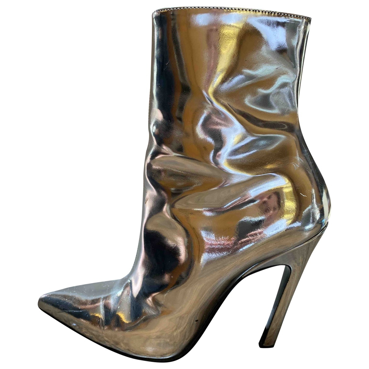 Balenciaga Slash Stiefel in  Silber Leder