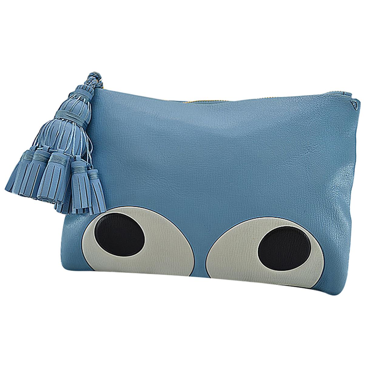 Anya Hindmarch \N Clutch in  Blau Leder