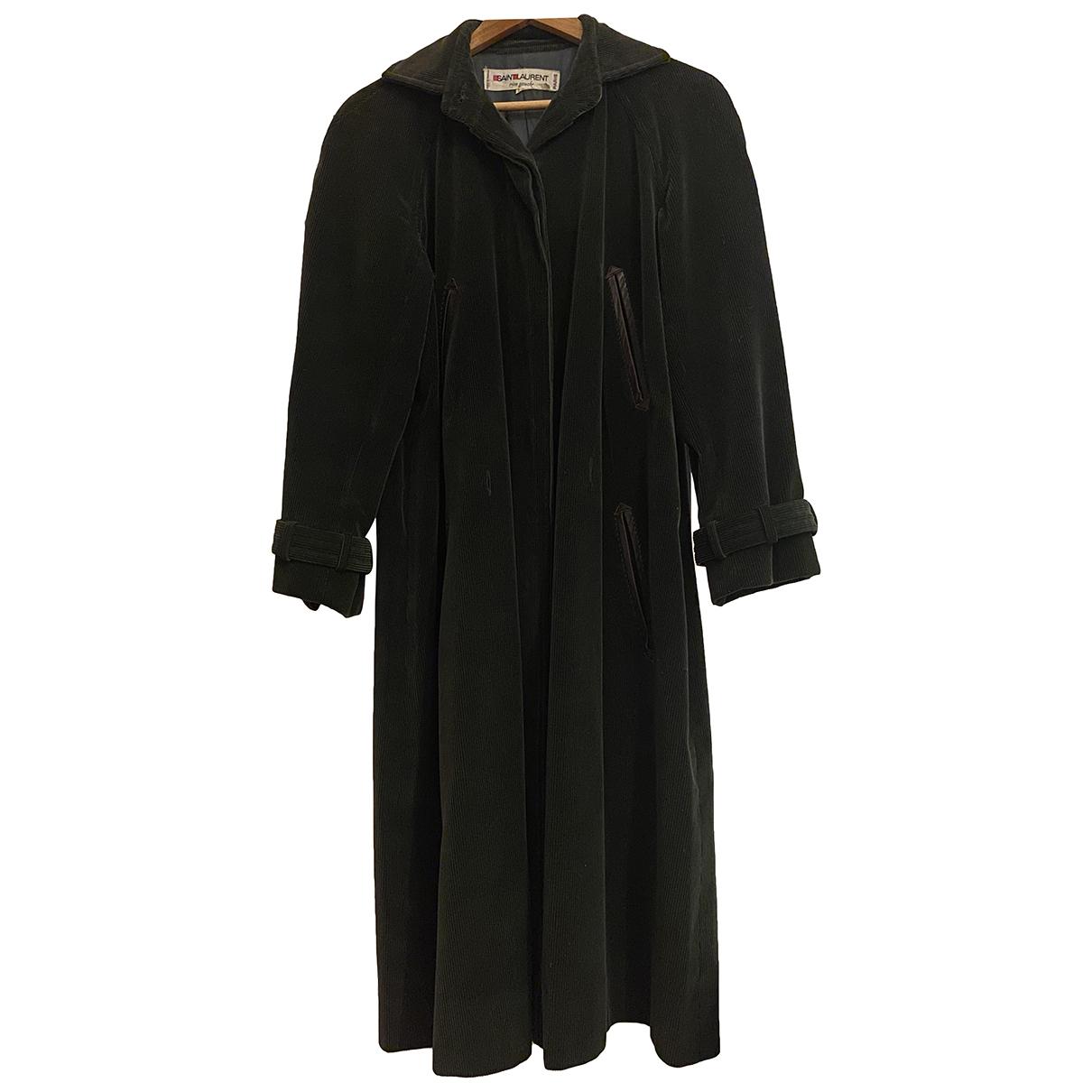 Saint Laurent - Manteau   pour femme en velours - vert