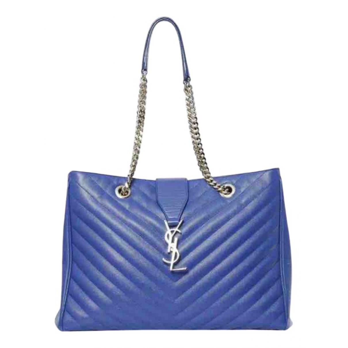 Saint Laurent - Sac a main Shopping monogramme pour femme en cuir - bleu