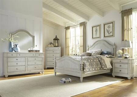 Harbor View III Collection 731-BR-QPSDMCN 5-Piece Bedroom Set with Queen Poster Bed  Dresser  Mirror  Chest and Night Stand in Dove Gray