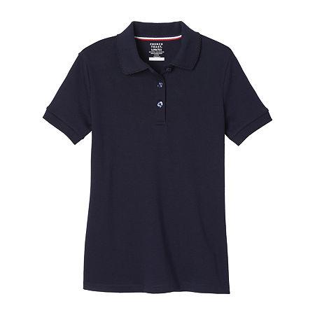 French Toast Big Girls Short Sleeve Polo Shirt, Large , Blue