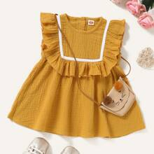 Baby Girl Ruffle Trim Tape Smock Dress Without Bag