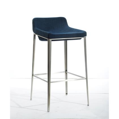 BM187438 Fabric Upholstered Metal Bar Stool  Blue and