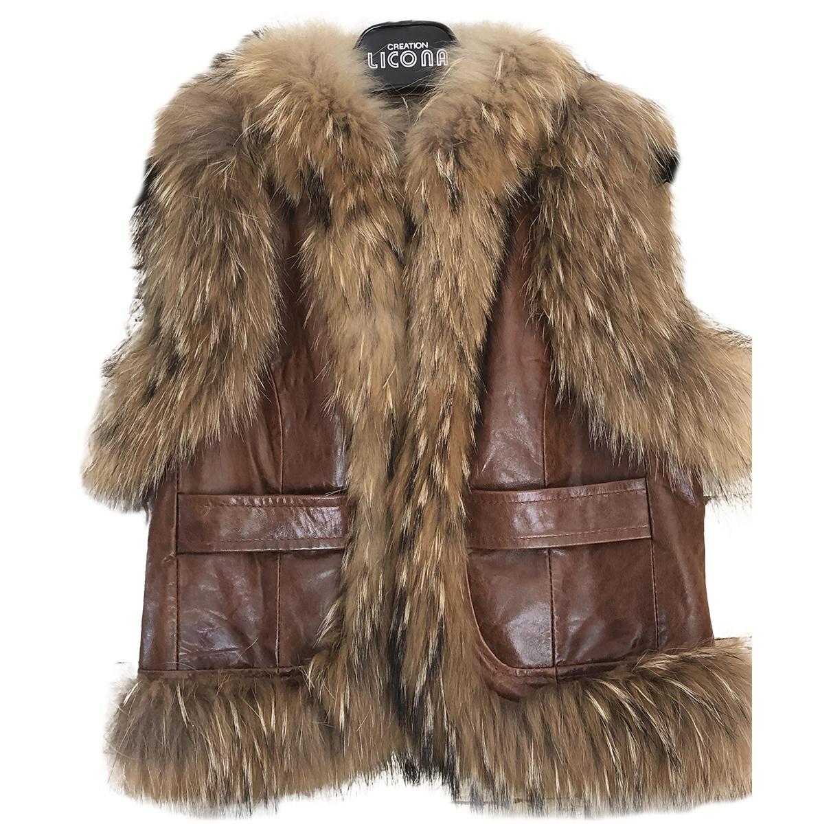 - Veste   pour femme en cuir - marron