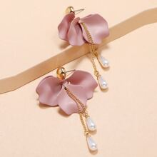 Petal & Faux Pearl Drop Earrings
