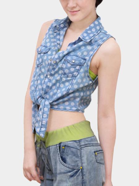 Yoins Wave Point Pattern Mini Denim Shirt in Blue